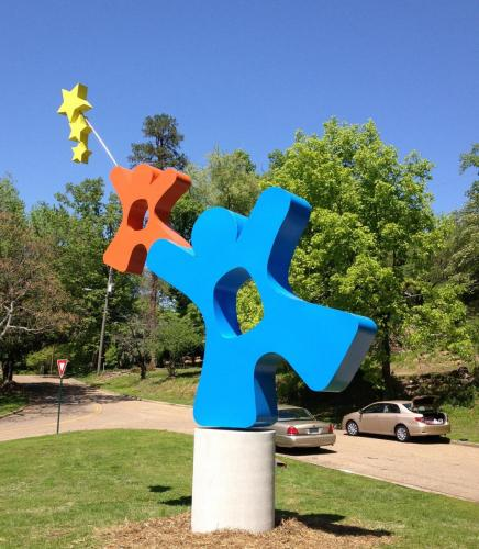 """Starlight Star bright ""Chatanooga TN.20 feet all, kinetic and spins on the base."