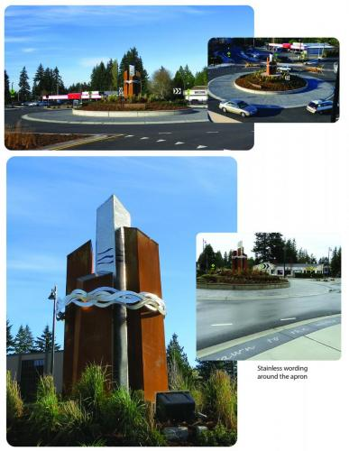 """""""Drawn to Water Connected by Community""""Edmonds WA.10 foot round, 16 feet tallwith glass & lit at night"""
