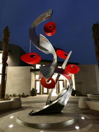"""Entwined II""Rancho Cucamonga CA.Stainless steel 18 feet tall"