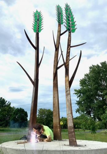 Minnesota NativesFour groupings of Mild and Stainless steel and Acrylic 25' X 14' X 14'Eden Prairie, Minnesota.
